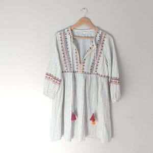 Zara TRF Dress Short Embroidered Tassel Boho